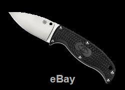Spyderco Enuff Leaf FB31PBK Fixed Blade Knife, VG-10 Plain Edge Blade, Sheath
