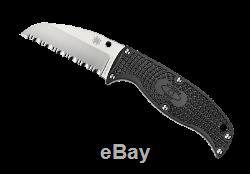 Spyderco Enuff Sheepsfoot FB31SBK Fixed Blade Knife, VG-10 Serrated Edge Blade