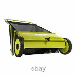 Sun Joe Manual Push Lawn Sweeper 26-Inch 52.3 Gallon Catcher