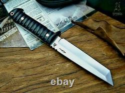Tanto Knife Fixed Blade Hunting Survival Combat Tactical DC53 Steel Wood Handle