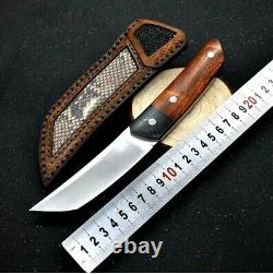 Tanto Knife Fixed Blade Hunting Survival Tactical Combat M390 Steel Wood Handle