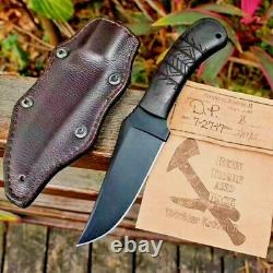 Trailing Point Knife Fixed Blade Hunting Combat Tactical Stonewashed G10 Handle