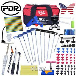 US 110PCS DIY Car Paintless Dent Repair Kit With 10×PDR Stainless Steel Push Rods