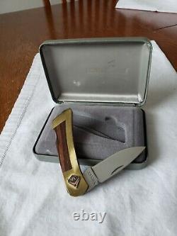 Vintage Gerber 97223 Pocket Knife Brass Handle withSFC 10K Gold+Ruby Emblem