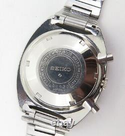 Vintage Seiko 6139 6005 Steel Mens Chronograph Blue Pepsi Pouge Watch