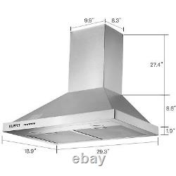 Wall Mounted Range Hood Stainless Steel Push Panel Kitchen Mesh Stove Vent Fan
