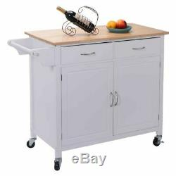 White Kitchen Cabinet Trolley Cart with a Push Handle