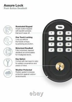 Yale Assure Lock Push Button Keypad Deadbolt Zwave Works With Alexa & Ring Alarm